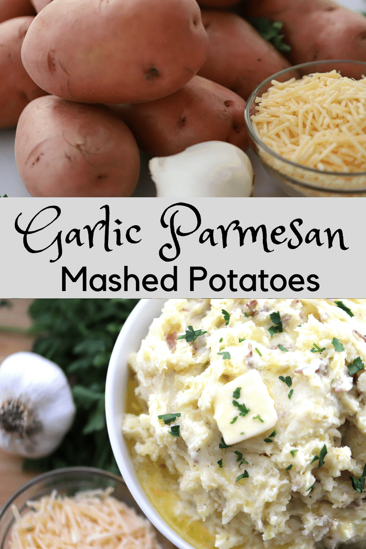 pinterest pin for Garlic Parmesan Mashed Potatoes