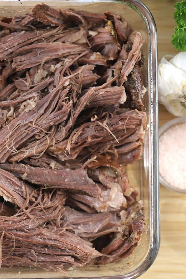 sirloin tip roast crock pot--done cooking and shredded roast beef