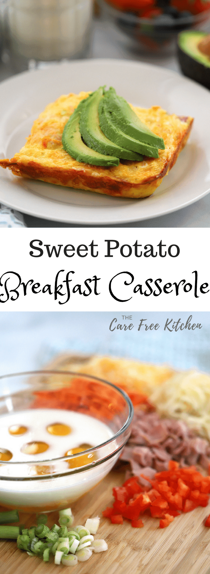 Sweet Potato Breakfast Casserole, a perfect addition to a holiday breakfast or Sunday brunch. It is a delicious combination of ham, sweet potatoes, pepper jack cheese, green onion and red pepper!