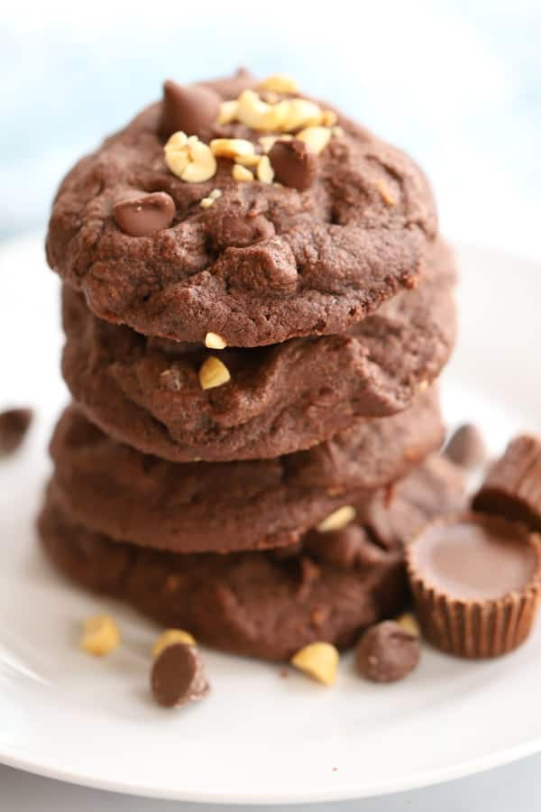 Chocolate Peanut Butter Surprise Cookie--A peanut butter cup inside a chocolate, chocolate chip cookie, oh my!