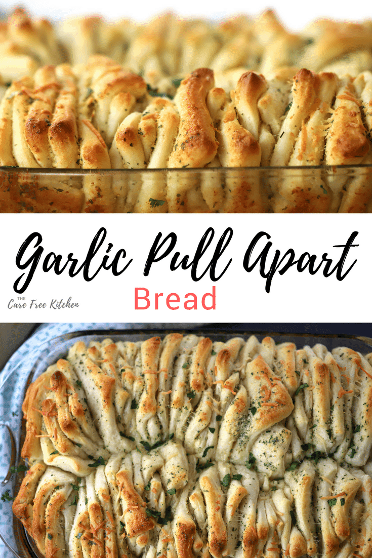 Garlic Pull Apart Bread in a baking dish