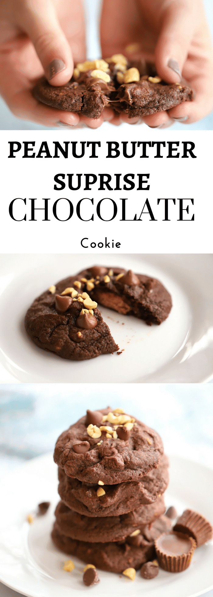 A Peanut Butter Cup inside a chocolaty chocolate chip cookie, ooey gooey goodness | Thecarfreekitchen.com