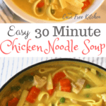 The entire family will love this quick and easy 30 minute chicken noodle soup recipe! It uses only 6 ingredients. You can have it on the dinner table in no time!