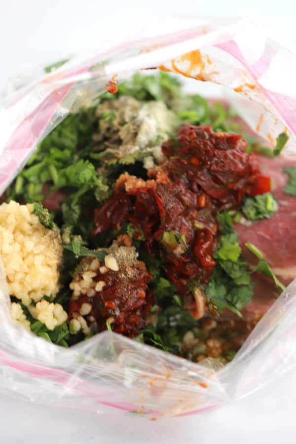 Carne Asada Marinade in a ziplock bag