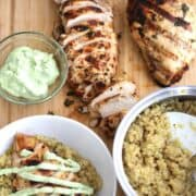 An incredibly juicy and falvorful Cilantro Lime Chicken on a bed of the most delicious Quinoa!