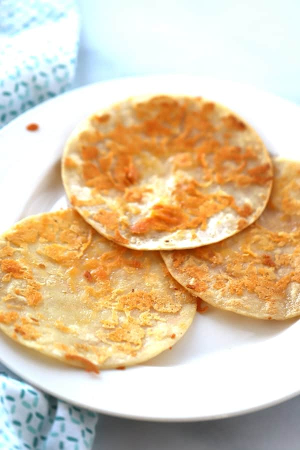 Cheese Fried Tortilla Corn Shells on a white plate