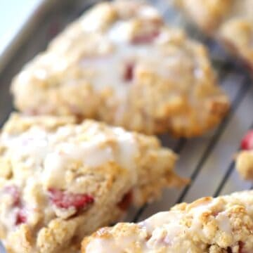 This Strawberry Scone recipe is made with simple ingredients and delicious every time! thecarefreekitchen.com