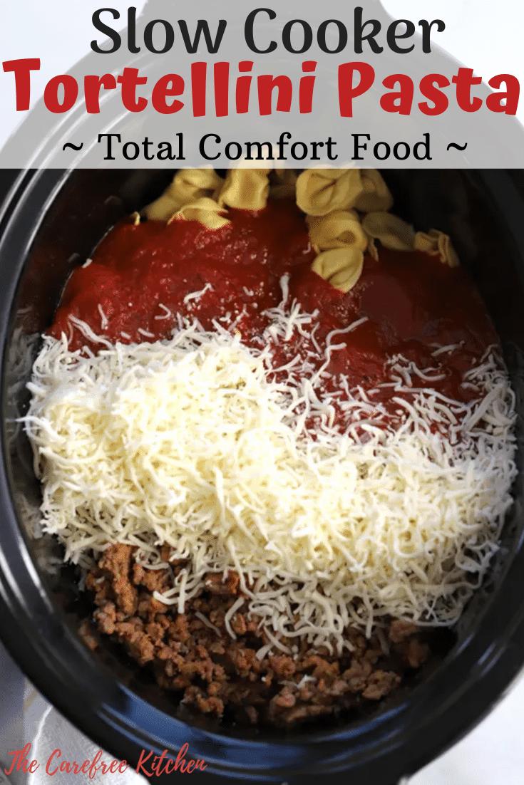 ingredients for slow cooker tortellini pasta bake in slow cooker