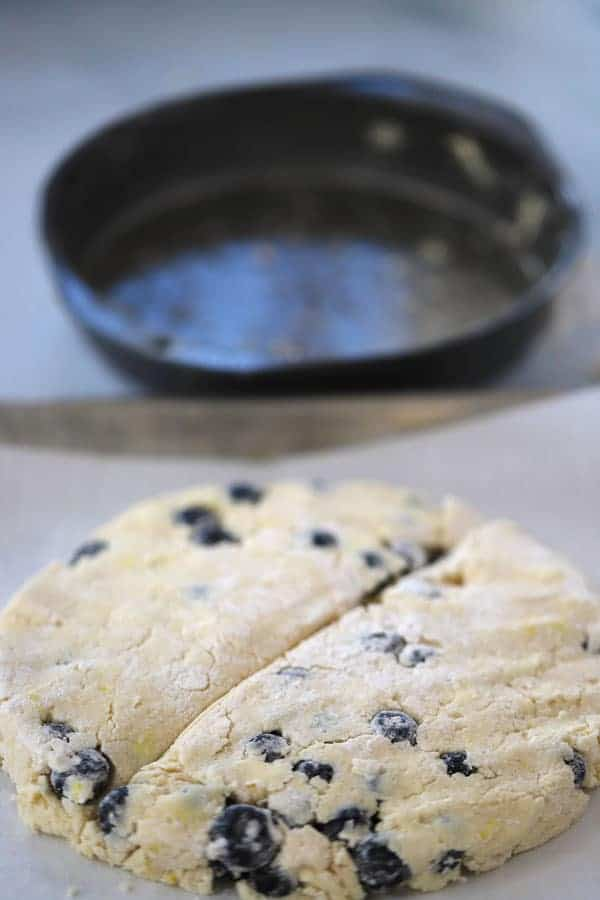 Blueberry scone dough out of a plan