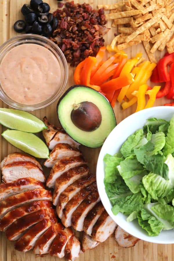 BBQ Chicken Salad with grilled chicken and fresh veggies