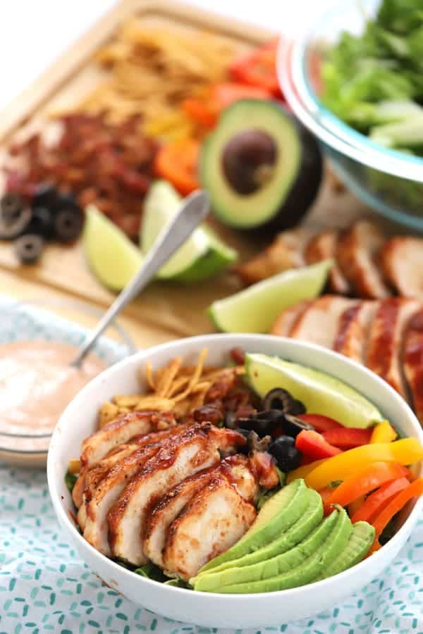 BBQ Grilled Chicken Salad is a family favorite. It has a tangy barbecue ranch dressing and is perfect for lunch or dinner! It has so many amazing flavors and it's quick and easy.