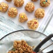 Coconut Peanut Butter Power Balls in a baking dish.