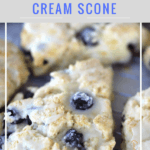 Lemon Blueberry cream scones with lemon glaze