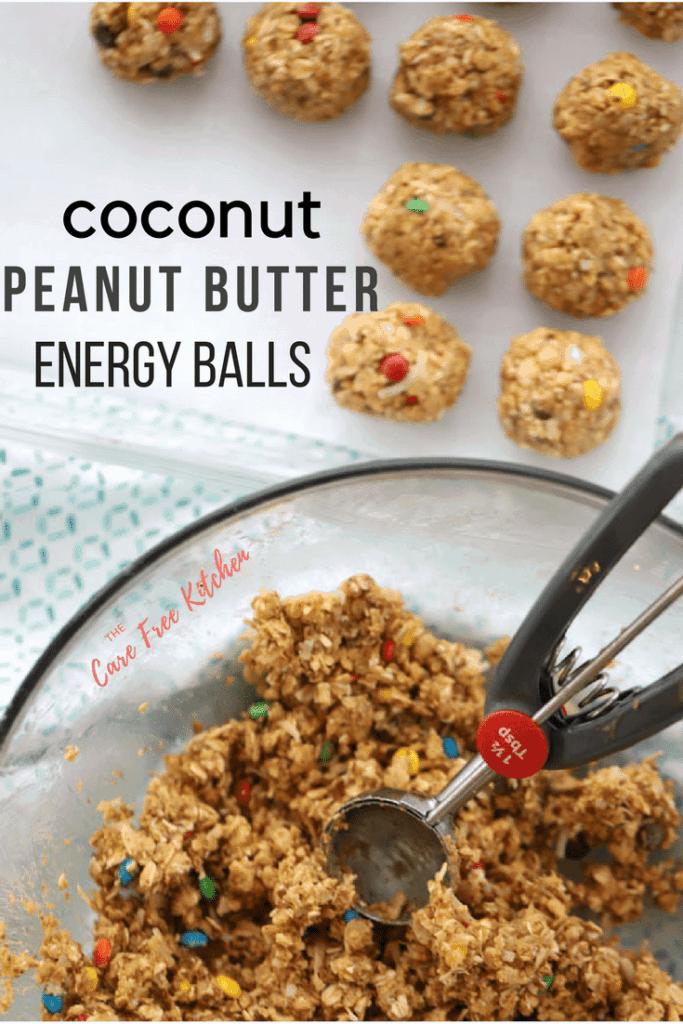 Pinterest pin for Coconut Peanut Butter Energy Balls.