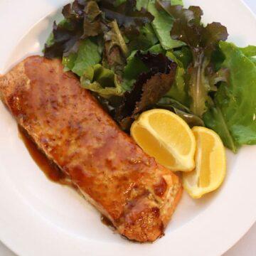 Sweet teriyaki Glazed Salmon on cedar plank