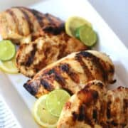This 2 citrus chicken marinade is divine! There's tons of flavor and the chicken is so moist. It's the perfect marinade for any grill night!