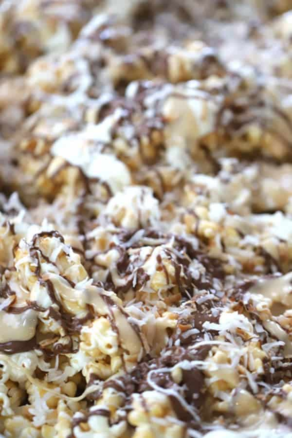 Toasted Coconut on marshmallow coconut caramel popcorn