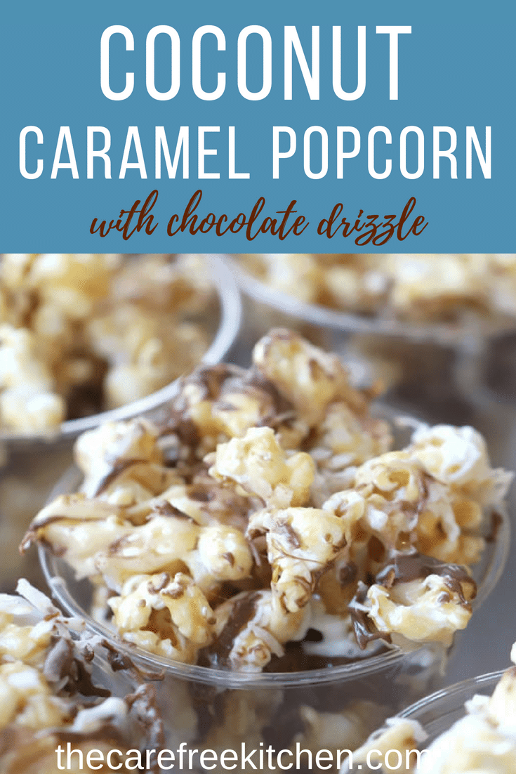 This coconut caramel popcorn recipe is a step-by-step guide, I will show you how make the most delicious coconut caramel popcorn!! It has layers of flavors, toasted coconut, coconut flavored caramel, and a chocolate drizzle!