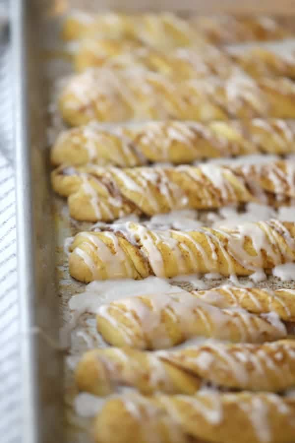 Einkorn Cinnamon breadsticks recipe. Breadsticks on a baking dish.
