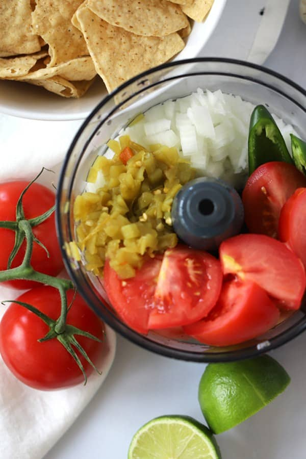 how to make salsa recipe. Salsa ingredients in food processor
