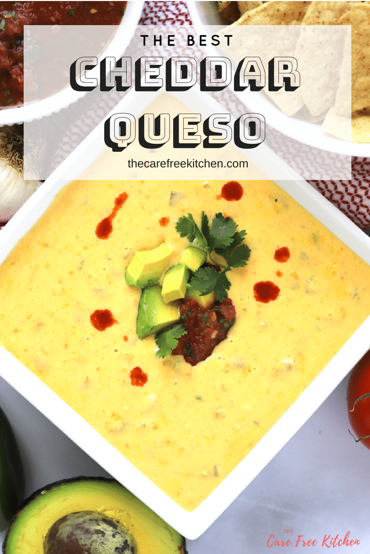 This Cheddar Queso Dip made with no Velveeta cheese is easy and so delicious!! It will be a hit at your next tailgate party or nacho night!