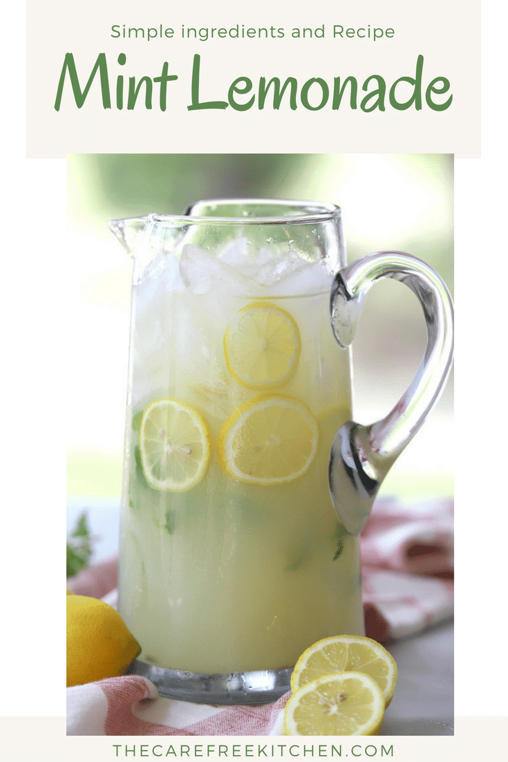 Mint lemonade in a glass pitcher