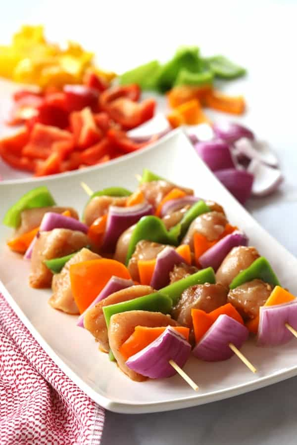 Southwest Chicken Kabobs on a white plate.