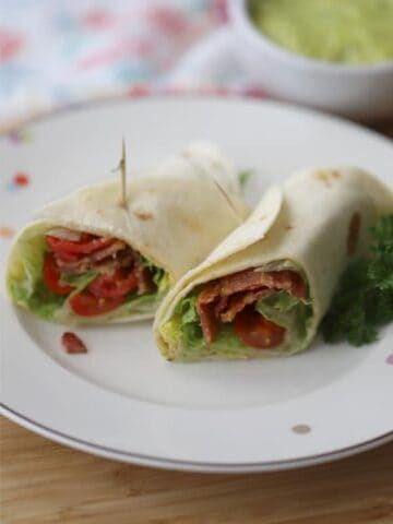 wedge salad in a wrap with hemp oil