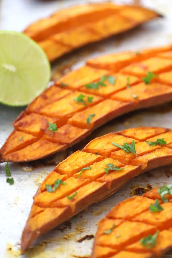 oven roasted sweet potato with chilotle and lime