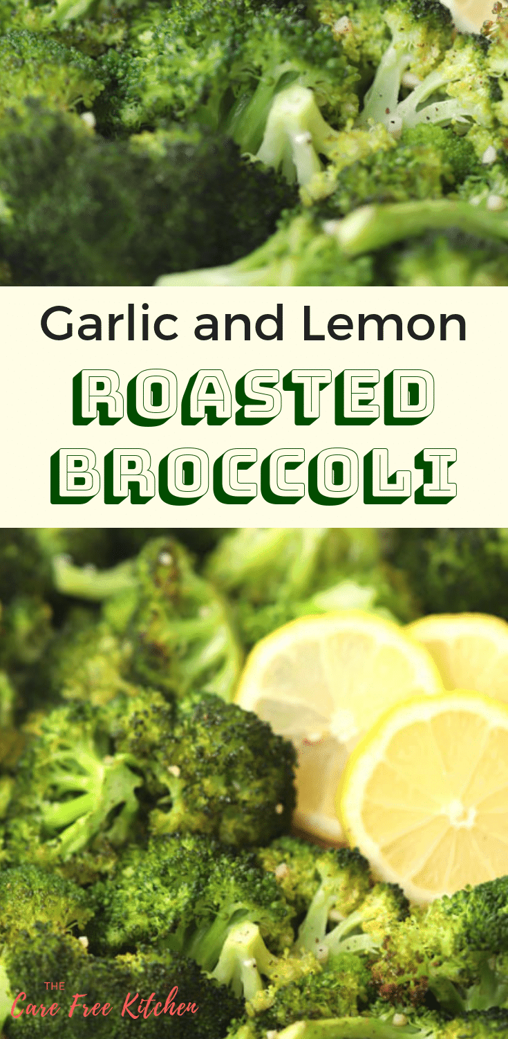 This roasted broccoli is hands-down, the best way to prepare cooked broccoli. The broccoli is tossed in a little avocado oil,  seasoned with minced garlic and then freshly squeezed lemon juice when it's finished roasting in the oven. YUM!