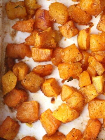 oven roasted squash in a baking dish