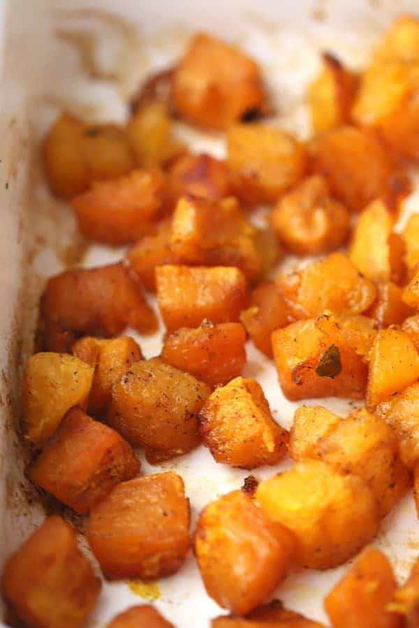 Maple and cinnamon oven roasted squash