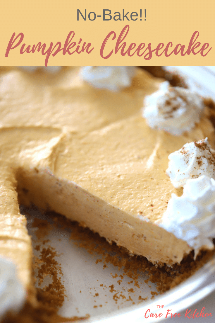 no bake cheesecake, pumpkin flavored with a gingersnap pie crust