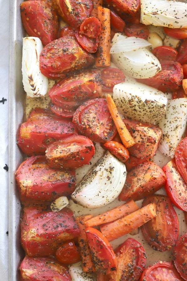 roasted tomatoes for tomato basil soup