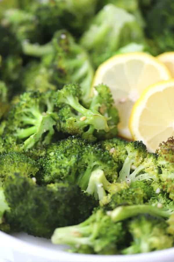 Roasted broccoli in a baking dish