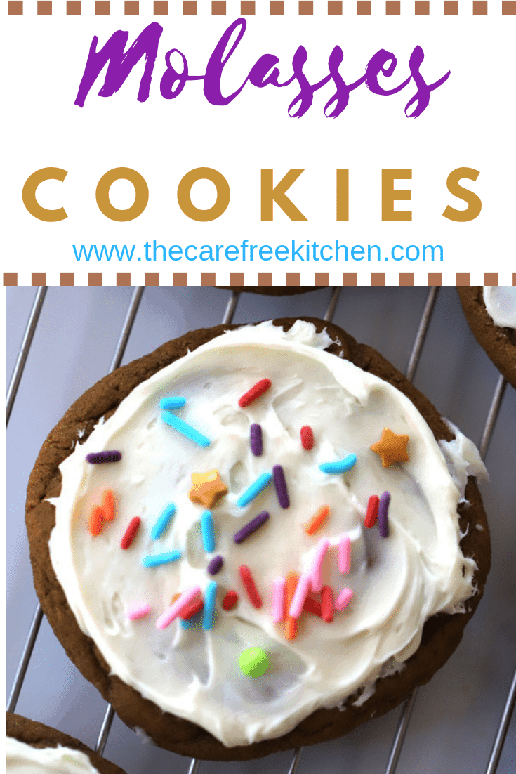 Molasses cookies with Vanilla buttercream frosting