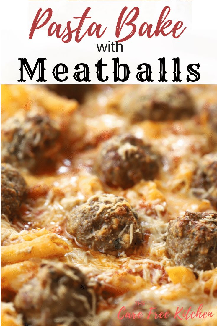 pasta bake with Italian meatballs, covered in cheese