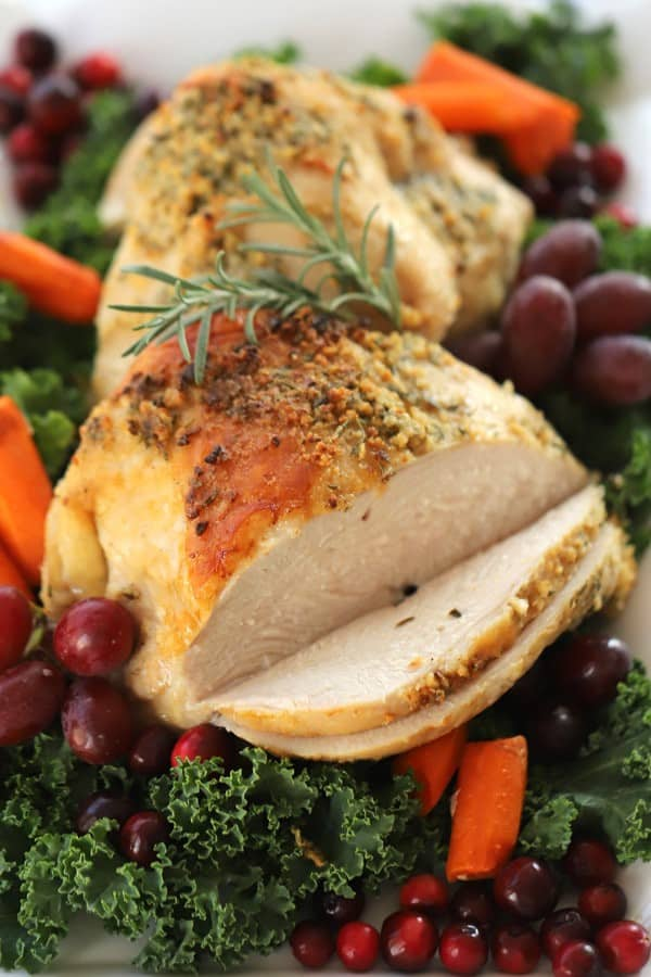 Turkey Breast Recipes, on a platter with fruit and garnish