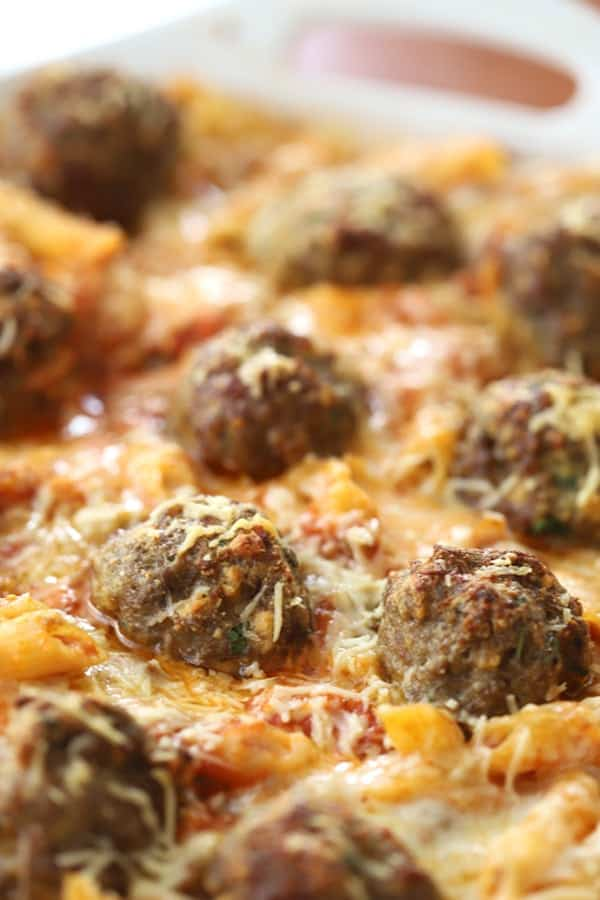 Meatball and penne pasta bake
