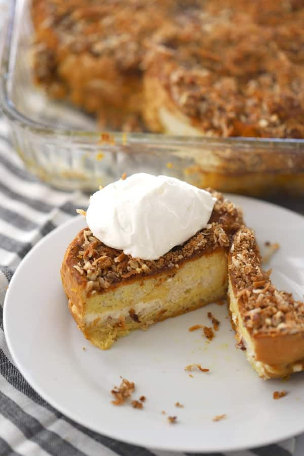 sweetened cream cheese stuffed french toast bake