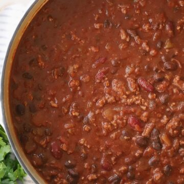 Beef and bean chili in a large dutch oven