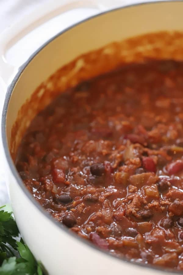 easy chili recipe in a white ceramic pot