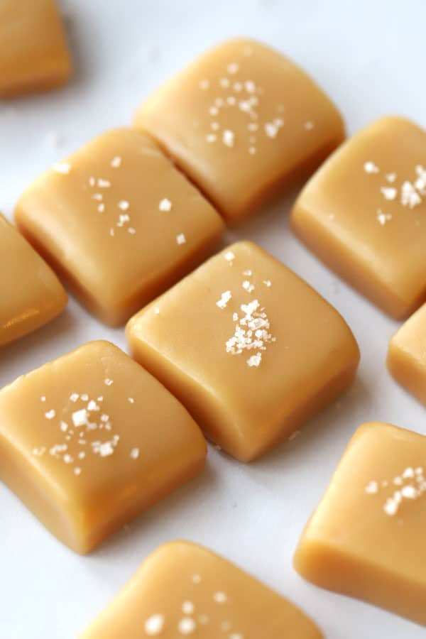 homemade caramels on parchement paper