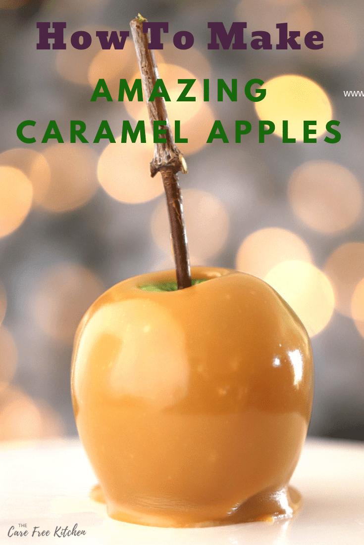 Pinterest pin for Homemade Caramel Apples.