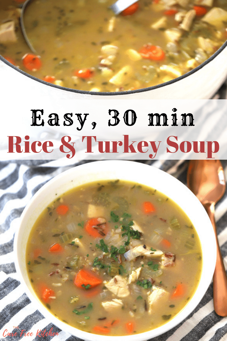 This turkey and wild rice soup is one of the best leftover turkey recipes.  If you're wondering what to make with leftover turkey, this is the soup for you! It's filled with wild rice, turkey, and delicious veggies.