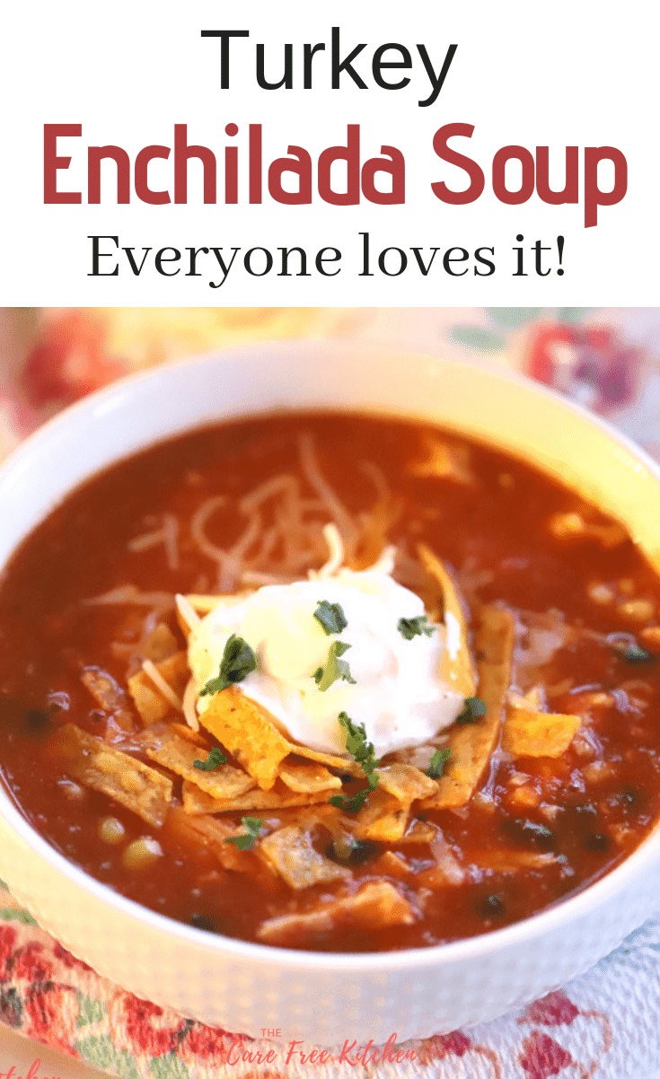 This Turkey Enchilada Soup is one of the best leftover turkey recipes!! It's quick and easy, it can be made in 30 minutes or less.
