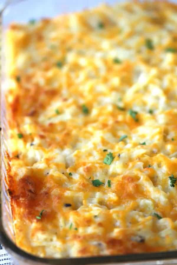potato casserole in a baking dish