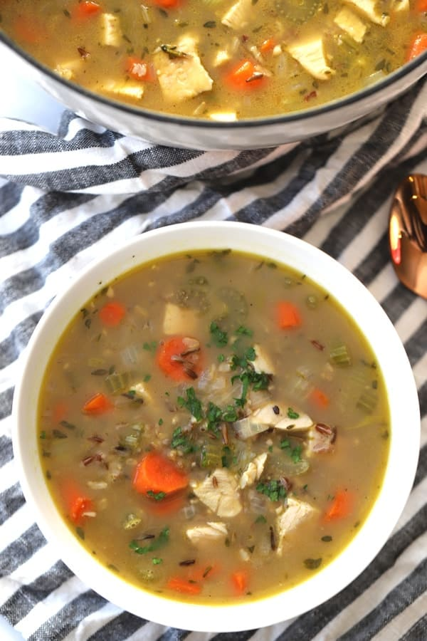 turkey wild rice soup in a bowl