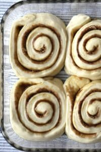 cinnamon rolls rising in a baking dish