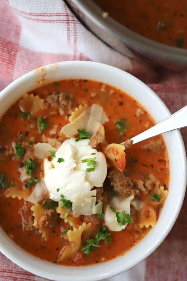 lasagna soup recipe in a pot